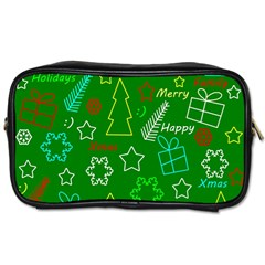 Green Xmas Pattern Toiletries Bags 2 Side by Valentinaart