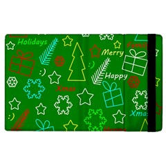 Green Xmas Pattern Apple Ipad 2 Flip Case by Valentinaart