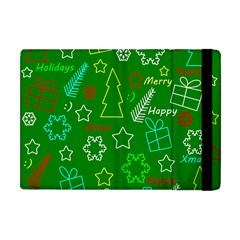 Green Xmas Pattern Apple Ipad Mini Flip Case by Valentinaart