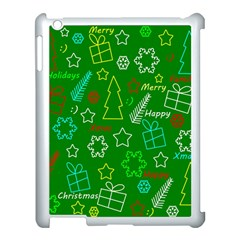 Green Xmas Pattern Apple Ipad 3/4 Case (white) by Valentinaart
