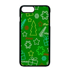 Green Xmas Pattern Apple Iphone 7 Plus Seamless Case (black) by Valentinaart