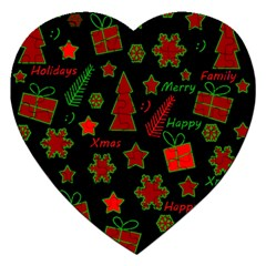 Red And Green Xmas Pattern Jigsaw Puzzle (heart) by Valentinaart