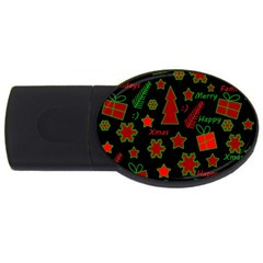 Red And Green Xmas Pattern Usb Flash Drive Oval (4 Gb)  by Valentinaart