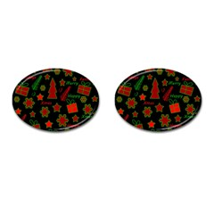 Red And Green Xmas Pattern Cufflinks (oval) by Valentinaart