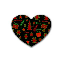 Red And Green Xmas Pattern Rubber Coaster (heart)  by Valentinaart
