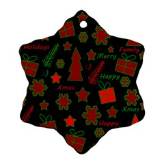Red And Green Xmas Pattern Snowflake Ornament (2 Side) by Valentinaart