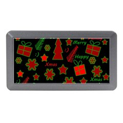Red And Green Xmas Pattern Memory Card Reader (mini) by Valentinaart