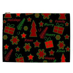 Red And Green Xmas Pattern Cosmetic Bag (xxl)  by Valentinaart