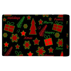 Red And Green Xmas Pattern Apple Ipad 2 Flip Case