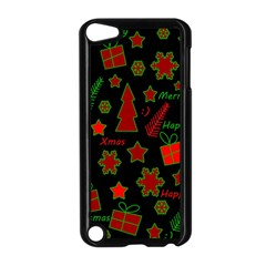 Red And Green Xmas Pattern Apple Ipod Touch 5 Case (black) by Valentinaart
