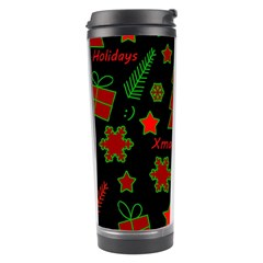 Red And Green Xmas Pattern Travel Tumbler by Valentinaart