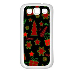 Red And Green Xmas Pattern Samsung Galaxy S3 Back Case (white) by Valentinaart