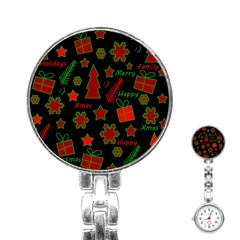 Red And Green Xmas Pattern Stainless Steel Nurses Watch by Valentinaart
