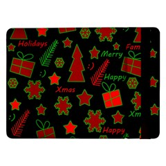 Red And Green Xmas Pattern Samsung Galaxy Tab Pro 12 2  Flip Case by Valentinaart