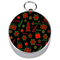 Red And Green Xmas Pattern Silver Compasses by Valentinaart