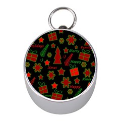 Red And Green Xmas Pattern Mini Silver Compasses by Valentinaart
