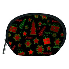 Red And Green Xmas Pattern Accessory Pouches (medium)  by Valentinaart