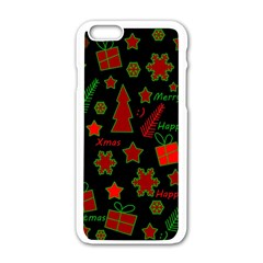 Red And Green Xmas Pattern Apple Iphone 6/6s White Enamel Case by Valentinaart