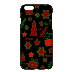 Red And Green Xmas Pattern Apple Iphone 6 Plus/6s Plus Hardshell Case by Valentinaart