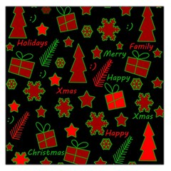 Red And Green Xmas Pattern Large Satin Scarf (square) by Valentinaart
