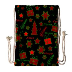Red And Green Xmas Pattern Drawstring Bag (large) by Valentinaart