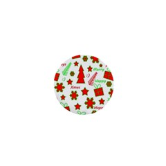 Red And Green Christmas Pattern 1  Mini Buttons by Valentinaart