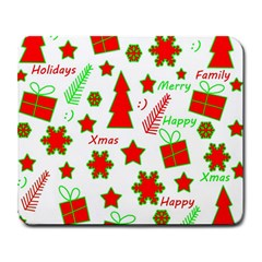 Red And Green Christmas Pattern Large Mousepads by Valentinaart