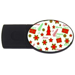Red And Green Christmas Pattern Usb Flash Drive Oval (4 Gb)  by Valentinaart