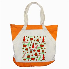 Red And Green Christmas Pattern Accent Tote Bag by Valentinaart