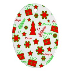 Red And Green Christmas Pattern Oval Ornament (two Sides) by Valentinaart