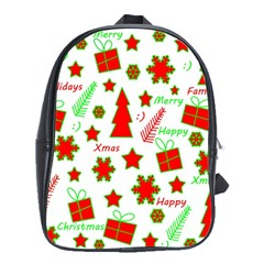Red And Green Christmas Pattern School Bags(large)  by Valentinaart