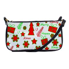 Red And Green Christmas Pattern Shoulder Clutch Bags by Valentinaart