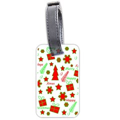 Red And Green Christmas Pattern Luggage Tags (one Side)  by Valentinaart