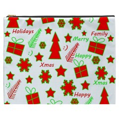 Red And Green Christmas Pattern Cosmetic Bag (xxxl)  by Valentinaart