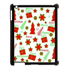Red And Green Christmas Pattern Apple Ipad 3/4 Case (black) by Valentinaart