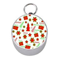Red And Green Christmas Pattern Mini Silver Compasses