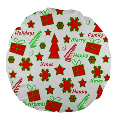 Red And Green Christmas Pattern Large 18  Premium Flano Round Cushions by Valentinaart