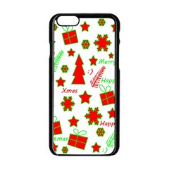 Red And Green Christmas Pattern Apple Iphone 6/6s Black Enamel Case by Valentinaart