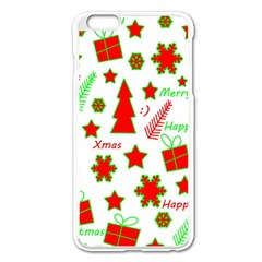 Red And Green Christmas Pattern Apple Iphone 6 Plus/6s Plus Enamel White Case by Valentinaart