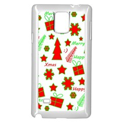 Red And Green Christmas Pattern Samsung Galaxy Note 4 Case (white) by Valentinaart