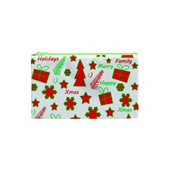 Red And Green Christmas Pattern Cosmetic Bag (xs) by Valentinaart