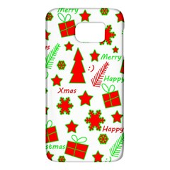 Red And Green Christmas Pattern Galaxy S6 by Valentinaart