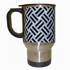 Woven2 Black Marble & Gray Marble (r) Travel Mug (white) by trendistuff