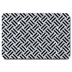 Woven2 Black Marble & Gray Marble (r) Large Doormat by trendistuff