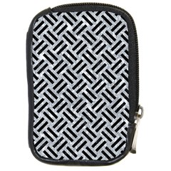 Woven2 Black Marble & Gray Marble (r) Compact Camera Leather Case by trendistuff