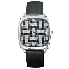 Woven1 Black Marble & Gray Marble (r) Square Metal Watch by trendistuff