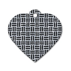 Woven1 Black Marble & Gray Marble (r) Dog Tag Heart (one Side) by trendistuff