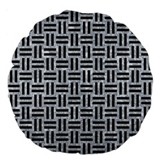 Woven1 Black Marble & Gray Marble (r) Large 18  Premium Flano Round Cushion