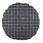 WOVEN1 BLACK MARBLE & GRAY MARBLE (R) Large 18  Premium Flano Round Cushion  Front