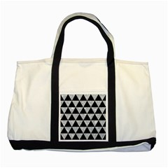 Triangle3 Black Marble & Gray Marble Two Tone Tote Bag by trendistuff